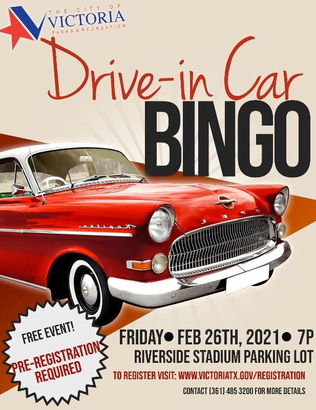 Flyer for drive-in bingo. Feb. 26, 7 p.m., Riverside Stadium. Register at 3614853200