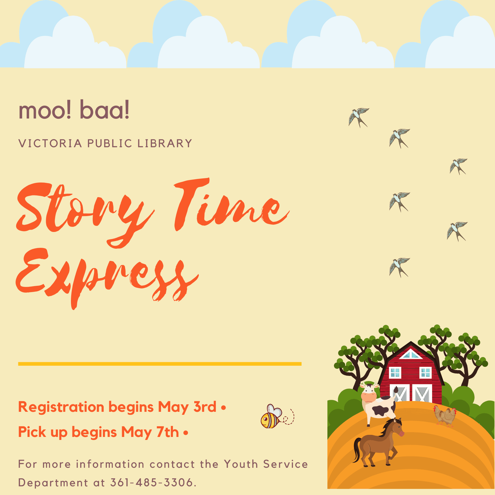 Story Time Express, Registration begins May 3rd, Pickup Begins May 7th