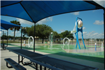 View of Baseball water bowl at Community Center Splashpad